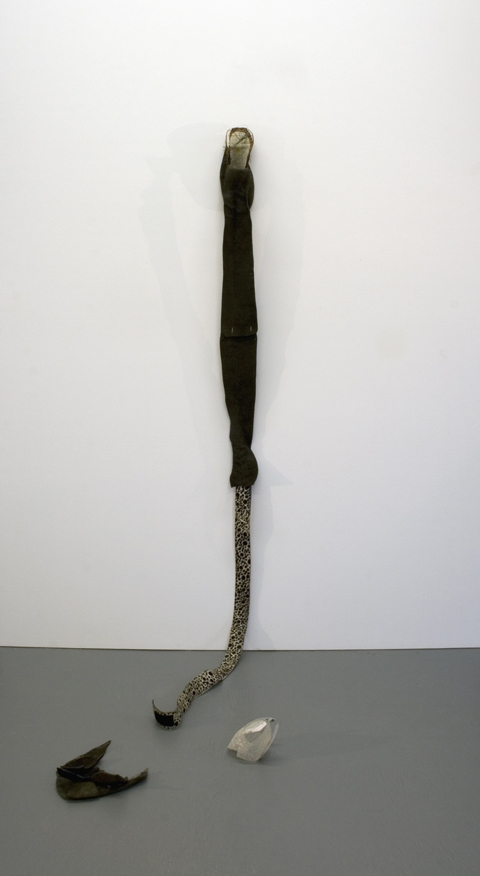 Sara Hubbs JUST SAYIN' discarded shoes, belt, decomposed granite, straight pins, & thread