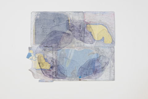 SARA HUBBS Packaging Drawings Tissue paper, archival adhesive, pastel and graphite on printed cardboard from toy packaging