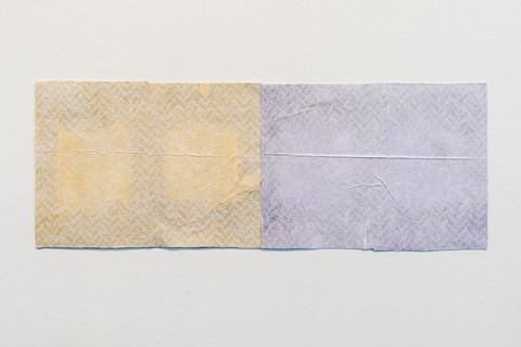 SARA HUBBS Packaging Drawings tissue paper, napkin, and adhesive on printed cardboard from packaging materials