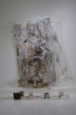 Sara Hubbs AS IS paint, other paintings, tape, glitter, cans, cups