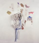 SARA HUBBS Scripts my shoes, bathing suit strap, thread, paper, clear tape, and acrylic paint