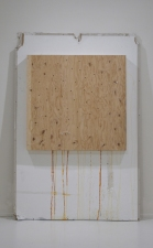 SARA HUBBS As Is  (MFA Exhibition) wood, tape, sieve, wall from my studio, paint, and dirt from Arizona