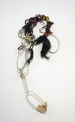 Sara Hubbs SCRIPTS discarded shoe straps, synthetic hair, and adhesive