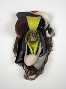 Sara Hubbs 2009 discarded shoes, spray paint, thread, adhesive, & hardware