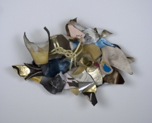 SARA HUBBS Scripts discarded shoe insoles, thread, hardware, adhesive