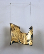 Sara Hubbs MY JEWELRY BOX piece of leather boot made in Spain, thread, gold leaf