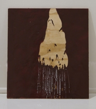 Sara Hubbs AS IS industrial wax, heat, spray paint on wood