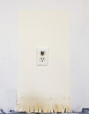SARA HUBBS Vermont Installations western fringe, joint compound, paint, & burned out electrical outlet