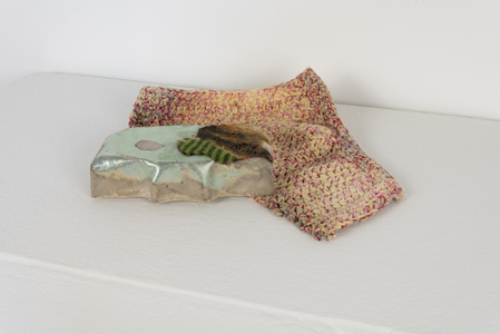 SARA HUBBS Small Works Cast Hydrocal, acrylic paint, sweepings from studio floor, fabric, hand knit washcloth and bleach