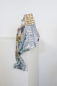 SARA HUBBS Small Works Basketball trophy, plaster cloth, fabric, fabric glue, plastic toy container, gold leaf, acrylic paint