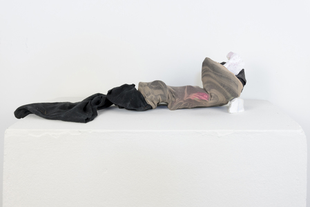 SARA HUBBS Small Works Fabric, toy containers, printed tattoo sleeve, plaster, plaster cloth