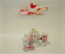 SARA HUBBS Untitled Tape transfers with acrylic paint, foil paper on plexi-glass