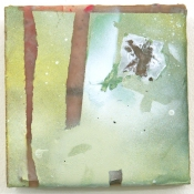 Sara Hubbs ARCHIVES industrial wax, spray paint, pigment, organic matter on panel