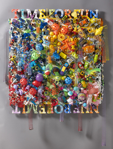 Sara Schindel Assemblages Toys, paint, on board