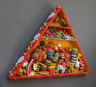 Sara Schindel Assemblages Plastic food, candy, polymer clay, acrylic paint in custom made wooden box