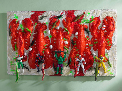 Sara Schindel Assemblages Plastic Lobsters, action figures, plastic alligators, beads, plastic toys