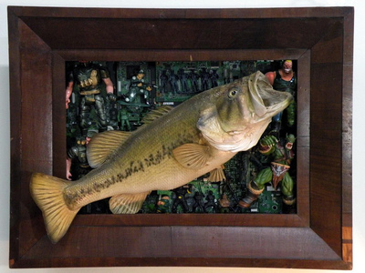 Sara Schindel Assemblages wooden frame, taxidermy fish, action figures, computer boards
