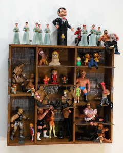 Sara Schindel Assemblages Wooden box, action figures, girl toy figures, sewing machine needles