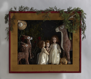 Sara Schindel Assemblages frame, dolls, toy bears, paper mache deer, artificial greenery, lights, acrylics