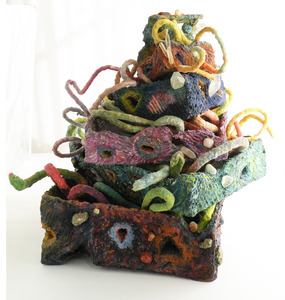 Sara Schindel Sculpture papier mache', rope, crystals, acrylic paint, tumbled stones, essential oils