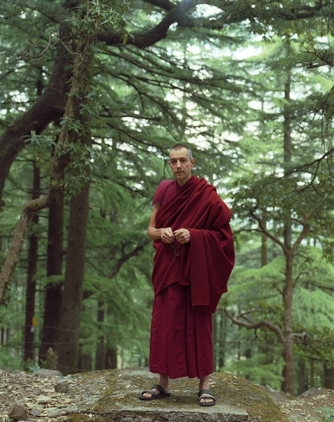 <b>The Searchers (Part II)</b> Swiss Buddhist monk with prayer beads (Dharamsala, India)