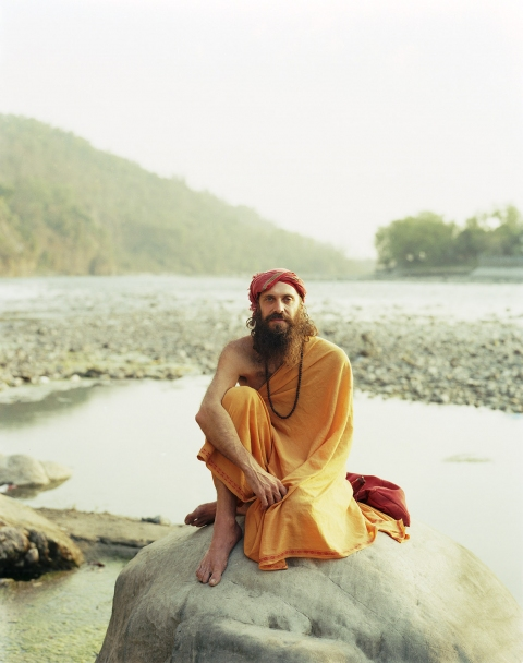 <b>The Searchers (Part II)</b> American sadhu outside his cave on the banks of the river Ganges (Rishikesh, India)
