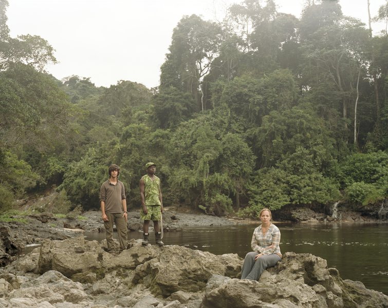 <b>Republic of Dust</b> French NGO volunteers with Gabonese Nattional Park Service ranger, Ivindo National Park