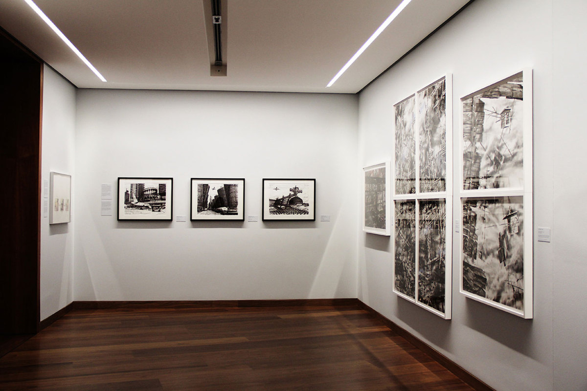photo of American Perspectives exhibit at Tchoban Foundation Museum for Architectural Drawing currently on display in Berlin