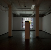 Michelle Scourtos Kill the Infamous Thing Sequenced watercolors projected onto a grid of 400 lightbulbs mounted in foam core
