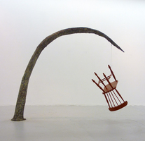 Sean Naftel  Chair, enamel, wire, paint, paper, steel<br/>
