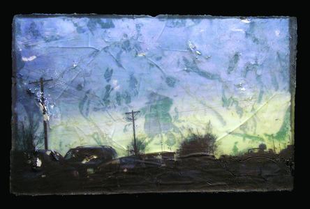 Sean Naftel  Resin, plaster, acrylic paint, thermal-image transfer on board<br/>