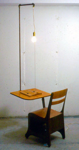 Sean Naftel  Desk, book, light bulb, conduit, shellac<br/>