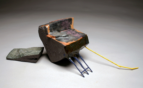 Sean Naftel  Wood, wax, slate, ink, acrylic paint<br/>