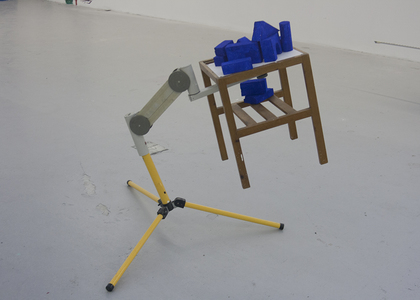 Sean Naftel  Tripod, monitor stand, table, foam, paint<br/>