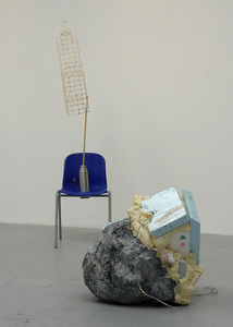 Sean Naftel  Foam, paint, ink, rope, twine, dry pigment, plastic chair, wood, hot melt glue, match sticks, stainless steel thermos, miniature street lamp<br/>