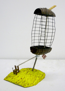 Sean Naftel  Wood, miniature furniture, spring, fabric, wire, acrylic paint<br/>