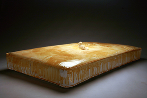 Sean Naftel  Mattress, shellac, and taxidermied duckling<br/>
