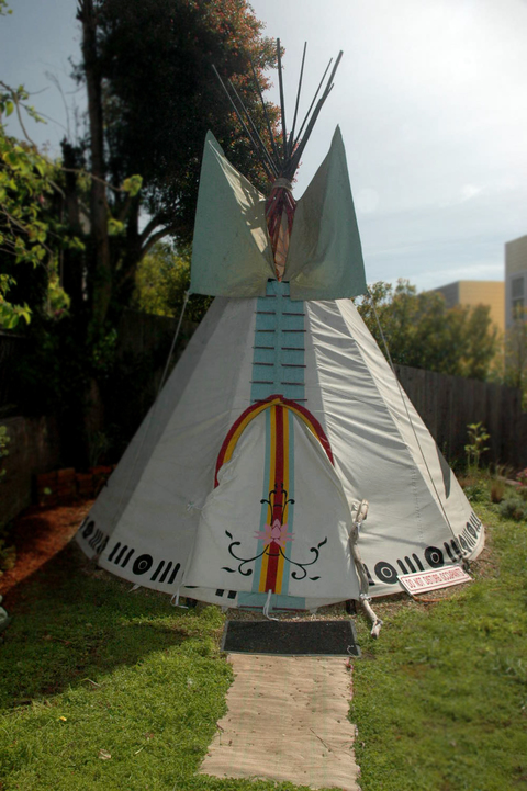 tipi Marin Canvas, House Paint, Ribbons, Swarzoski Crystals, Beaded Fringe, Lodge Pole Pine