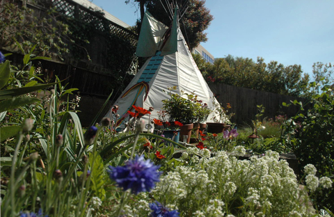 Tipi Marine Canvas, House Paint, Ribbons, Swarzoski Crystals, Beaded Fringe, Lodge Pole Pine