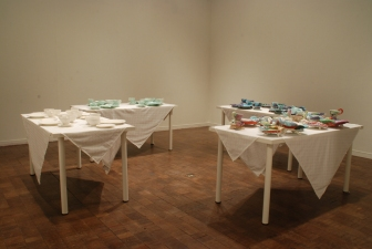 "Shana Salaff ""Simple Sumptuous"" (2009 MFA thesis show) Porcelain, tables, tablecloths"