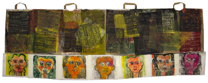 Shane Crabtree Narratives gelatin print on paper bags and rice paper