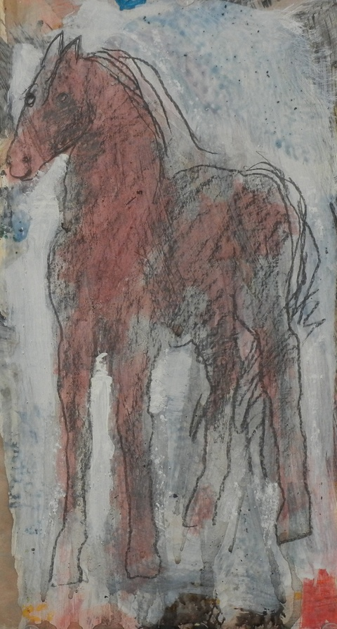 Shane Crabtree Horses 2016 acrylic with graphite
