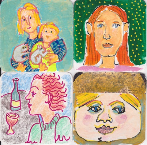Shane Crabtree Rehearsal Dinner Coasters 2018 Acryl-Gouache and felt tip pen with collage