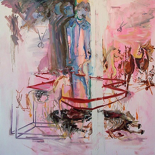 Shanna Waddell Misshapen Choas oil and house paint on canvas