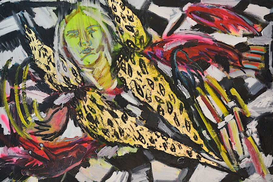 Shanna Waddell River Phoenix oil, spray paint, collage, and gold leaf on canvas