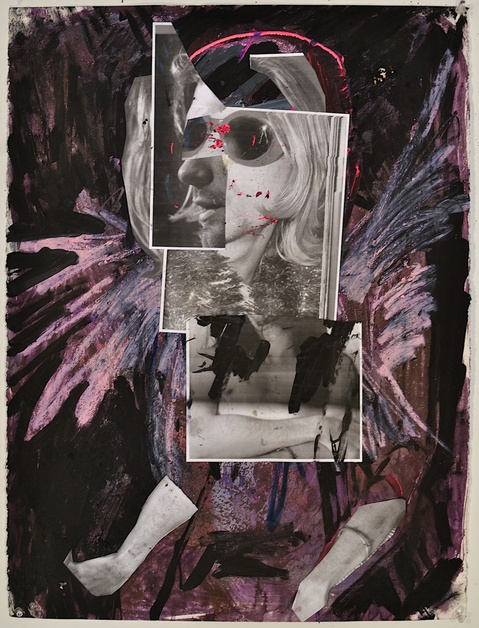 Shanna Waddell Kurt Cobain paint, and collage on paper