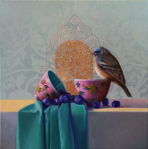 SHARON COSGROVE STILL LIFE oil & gold leaf on canvas