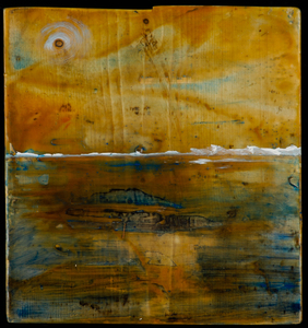 Sharon Hogg 2014 Beneath the Long Grass Oil and Encaustic on Found Lumber