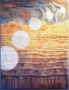 Sharon Hogg 2014 Beneath the Long Grass Oil, Encaustic and Tapestry on Cherry Panel
