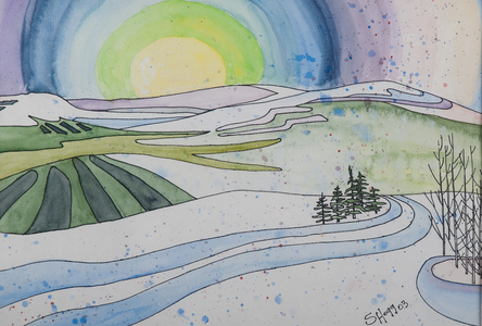 Sharon Hogg 2009 Just The Land Watercolour and Ink on Paper